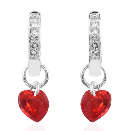 J Francis Crystal from Swarovski - Light Siam Colour Crystal (Hrt), White Colour Crystal Hoop Earrings (with Clasp Lock) in Sterling Silver, Silver wt 6.12 Gms.