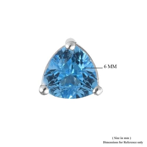 Swiss Blue Topaz (Trl) Stud Earrings (with Push Back) in Platinum Overlay Sterling Silver 1.750 Ct.