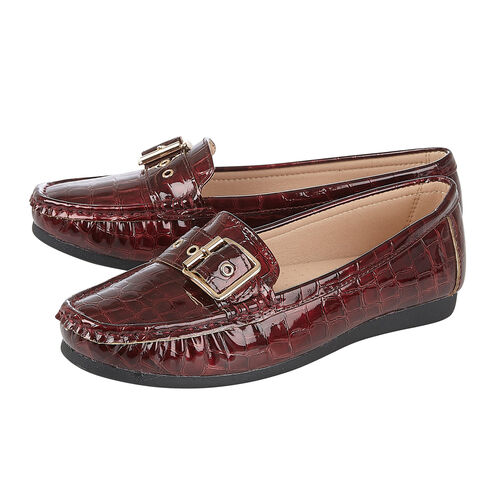 Lotus LIBBY Loafers with Croc Pattern and Buckle (Size 3) - Brodo/Burgundy