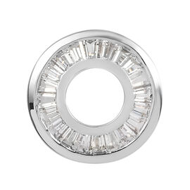 100% Natural White Sapphire Circle Pendant in Platinum Overlay Sterling Silver