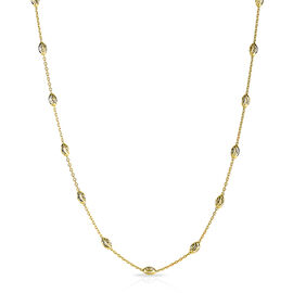 Diamond Cut Oval Bead Station Chain in 14K Gold Plated Sterling Silver 5.37 Grams 24 Inch