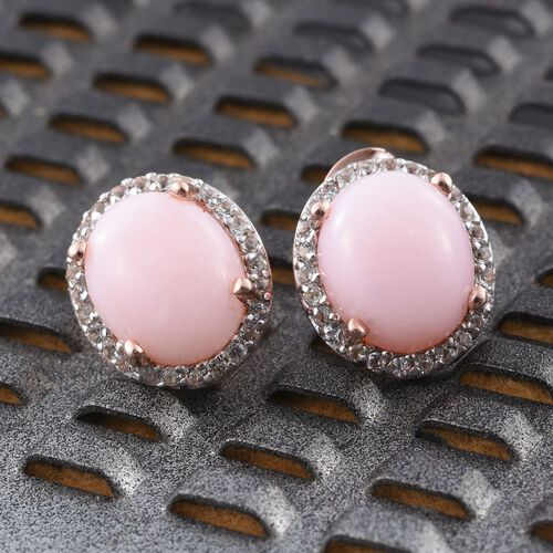 Natural Peruvian Pink Opal (Ovl), White Topaz Stud Earrings (with Push Back) in Rose Gold Overlay Sterling Silver 6.500 Ct.