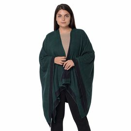 Reversible Black and Dark Green Loose Fitting Kimono (L-80 Cm)