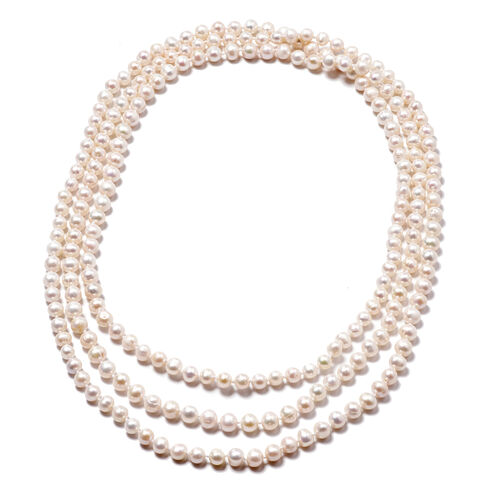 Close Out Deal - White Freshwater Pearl Beads Necklace (Size 66)
