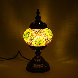 Handmade Turkish Mosaic Glass Table Lamp with Bronze Base (Size 30x11.5 Cm) - Yellow and Multi