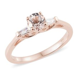 Marropino Morganite (Rnd), Natural Cambodian Zircon Ring in Rose Gold Overlay Sterling Silver 1.000 Ct.