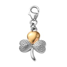 Platinum and Yellow Gold Overlaye Sterling Silver Shamrock Leaf Charm