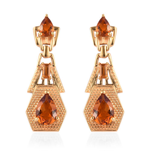 Madeira Citrine Earrings (with Push Back) in 14K Gold Overlay Sterling Silver 3.25 Ct, Silver wt 6.2