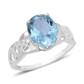 4.50 Ct Sky Blue Topaz Filigree Solitaire Ring in Sterling Silver
