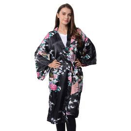 Black Colour Peacock and Floral Pattern Kimono with Waist Belt (Size 105x72 Cm)