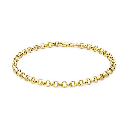 9K Yellow Gold Hollow Belcher Bracelet (Size 7.25)