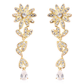 J Francis White Crystal from Swarovski Floral Dangle Earrings in Yellow Gold Plated Sterling Silver