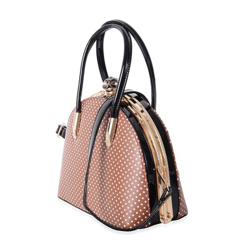 Boutique Limited Collection Brown Polka Dot Pattern Evening Bag (Size 27x20x13 Cm)