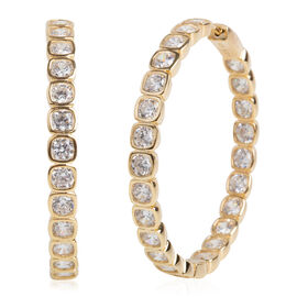ELANZA Simulated Diamond Hoop Earrings in Gold Plated Sterling Silver 18 Grams With Clasp Lock