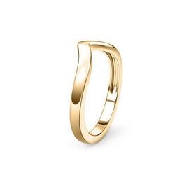 14K Yellow Gold Overlay Sterling Silver Wishbone V Shape Stacker Silver Ring
