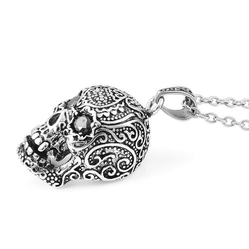 Designer Inspired-Simulated Black Spinel (Rnd) Skull Pendant With Chain (Size 24) in Stainless Steel