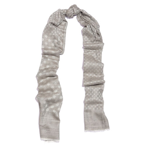 100% Cashmere Wool Dark Grey and Silver Colour Polka Dots Pattern Scarf with Fringes (Size 200X70 Cm)