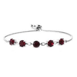 J Francis - Crystal From Swarovski Ruby Crystal (Rnd) Bolo Bracelet (Size 6.5 - 9.5 Adjustable) in Platinum Plated