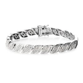Diamond (Rnd and Bgt) Leaf Design Bracelet (Size 7.5) in Platinum Overlay Sterling Silver 2.50 Ct, S