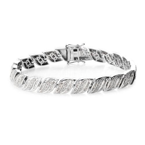 2.50 Ct Diamond Leaf Design Bracelet in Platinum Plated Sterling Silver 23.50 Grams 7.5 Inch