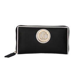 100% Genuine Leather RFID Black Wallet with White Piping and Zipper Closure