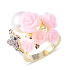 Jardin Collection Mother of Pearl and Multi Gemstone Floral Ring in Rhodium and Gold Plated Silver