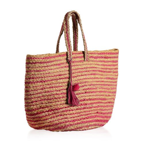 100% Handmade Jute Collection Fuchsia and Neutral Colour Stripes Pattern Bag with Tassel (Size 45x37x31x23 Cm)