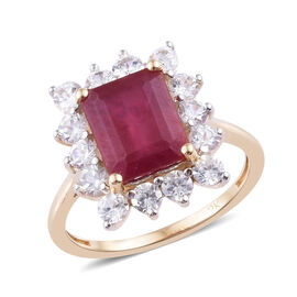 9K Yellow Gold African Ruby (Oct), Natural Cambodian Zircon Ring  5.000 Ct.
