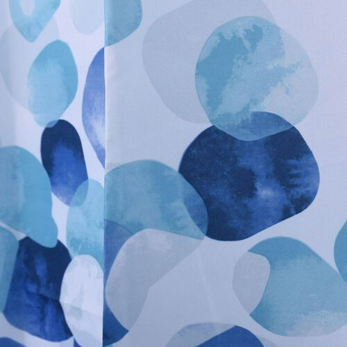 Printed Waterproof Shower Curtains with 12 Hooks (Size 180x180cm) - White and Blue
