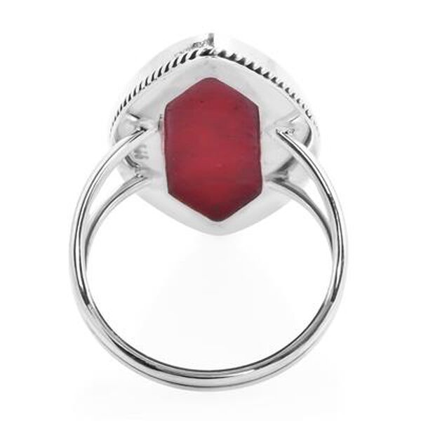 Royal Bali Collection - Red Coral Marquise Ring in Sterling Silver, Silver wt 4.10 Gms