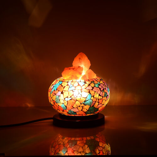 Home Decor - Handcrafted Mosaic Electric Lamp with Natural Himalayan Rock Salt (1.6Kg) - Red, Blue and Multi