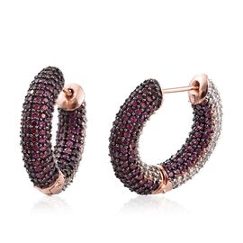 Designer Inspired - Reversible Rhodolite Garnet (Rnd), Natural Cambodian Zircon Hoop Earrings in Ros