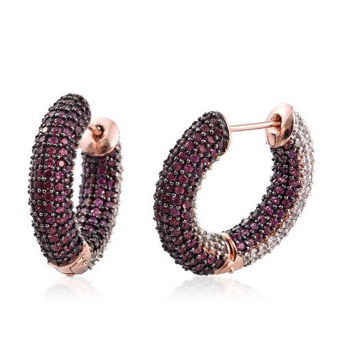 Designer Inspired - Reversible Rhodolite Garnet (Rnd), Natural Cambodian Zircon Hoop Earrings in Ros