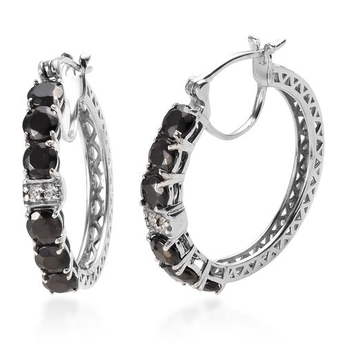 Elite Shungite (Rnd), Natural Cambodian Zircon Hoop Earrings (with Clasp) in Platinum Overlay Sterli
