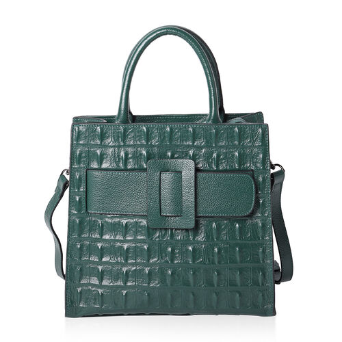 100% Genuine Leather Quilted Pattern Handbag with Buckle and Shoulder Strap (Size 30x15x31cm) - Gree