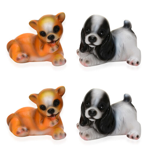Set of 2- Home Decor - Black and White, Orange and White Dog with Resin