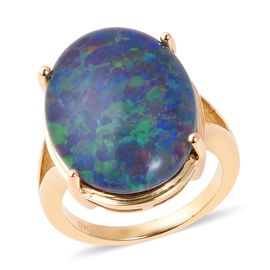 10.25 Ct Australian Boulder Opal Solitaire Ring in 9K Gold 4.46 Grams
