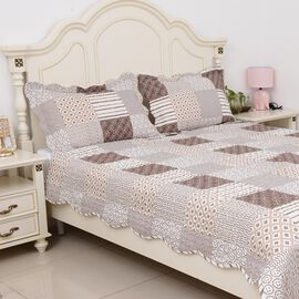 3 Piece Set  - Microfibre Printed Quilt (Size 240x260) and 2 Pillow Case (Size 70x50 Cm) - White, Br