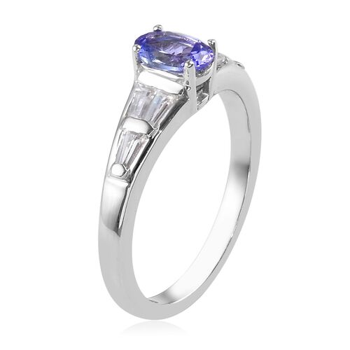 One Time Deal- Tanzanite (Ovl 6x4mm) and Natural Cambodian Zircon Ring in Platinum Overlay Sterling Silver 1.00 Ct.
