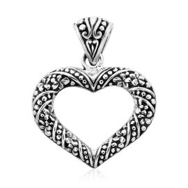Royal Bali Collection Plumeria Floral Heart Pendant in Sterling Silver