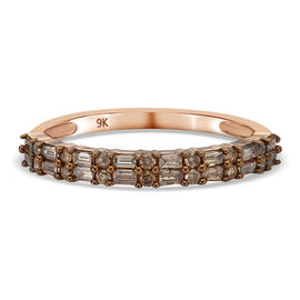 9K Rose Gold SGL Certified Natural Champagne Diamond (I3) Ring 0.500 Ct.
