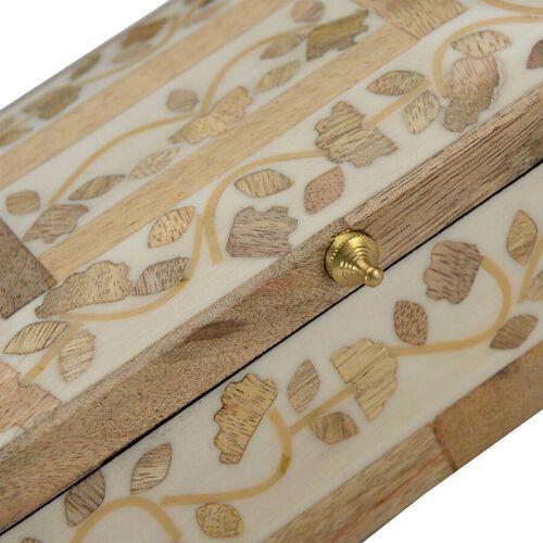 Handmade Bone and Mango Wood Inlay Storage Box (Size 15x10x6 Cm)