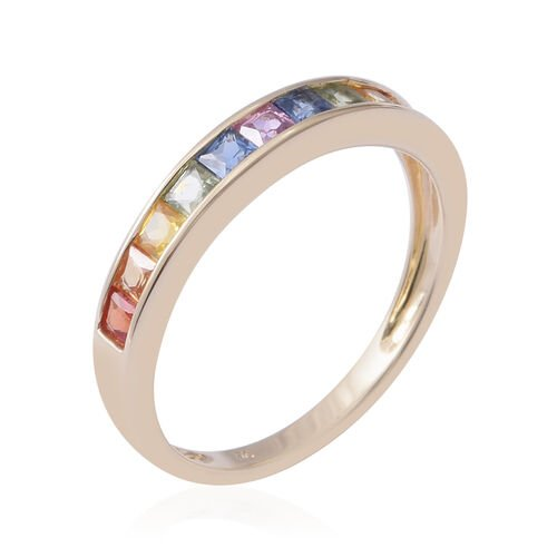 9K Yellow Gold AA Rainbow Sapphire (Sqr) Half Eternity Band Ring 1.100 Ct.