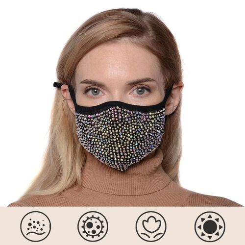 Rhinestone Face Cover with Filter Pocket and Adjustable Ear Button - Black