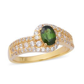2.03 Ct Russian Diopside and Zircon Halo Ring in Gold Plated Sterling Silver