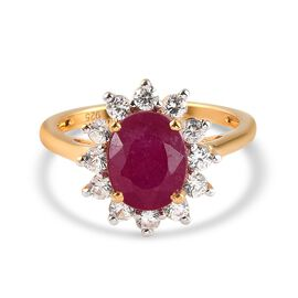African Ruby (FF) and Natural Cambodian Zircon Halo Ring in 14K Gold Overlay Sterling Silver 3.25 Ct