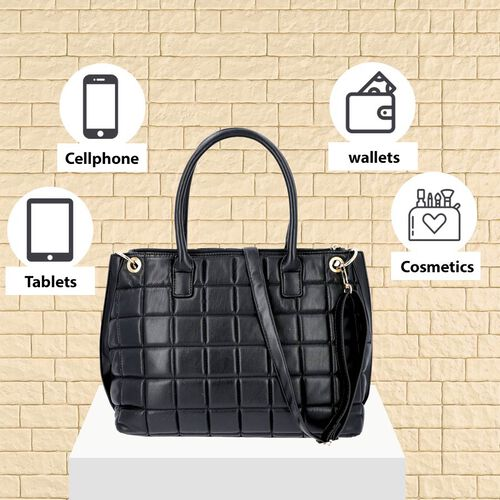 Quilted Pattern Satchel Bag with Detachable Shoulder Strap and Zipper Closure (Size 32x14x26 Cm) - B