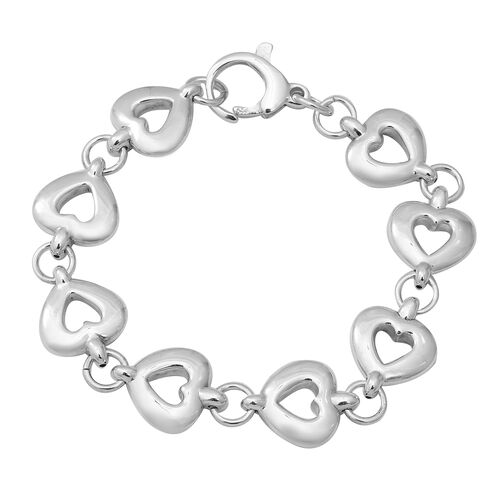 Heart Bracelet with Lobster Clasp in Thai Sterling Silver 18.29 Grams 7.75 Inch