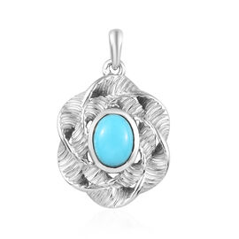 1.25 Ct Arizona Sleeping Beauty Turquoise Floral Pendant in Platinum Plated Sterling Silver