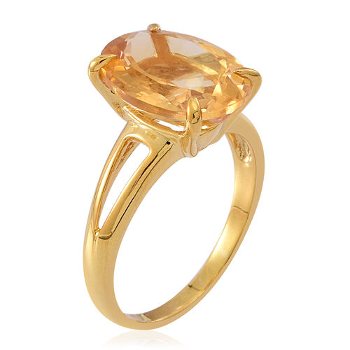 Rare Size Uruguay Citrine (Ovl) Solitaire Ring in 14K Gold Overlay Sterling Silver 9.000 Ct.